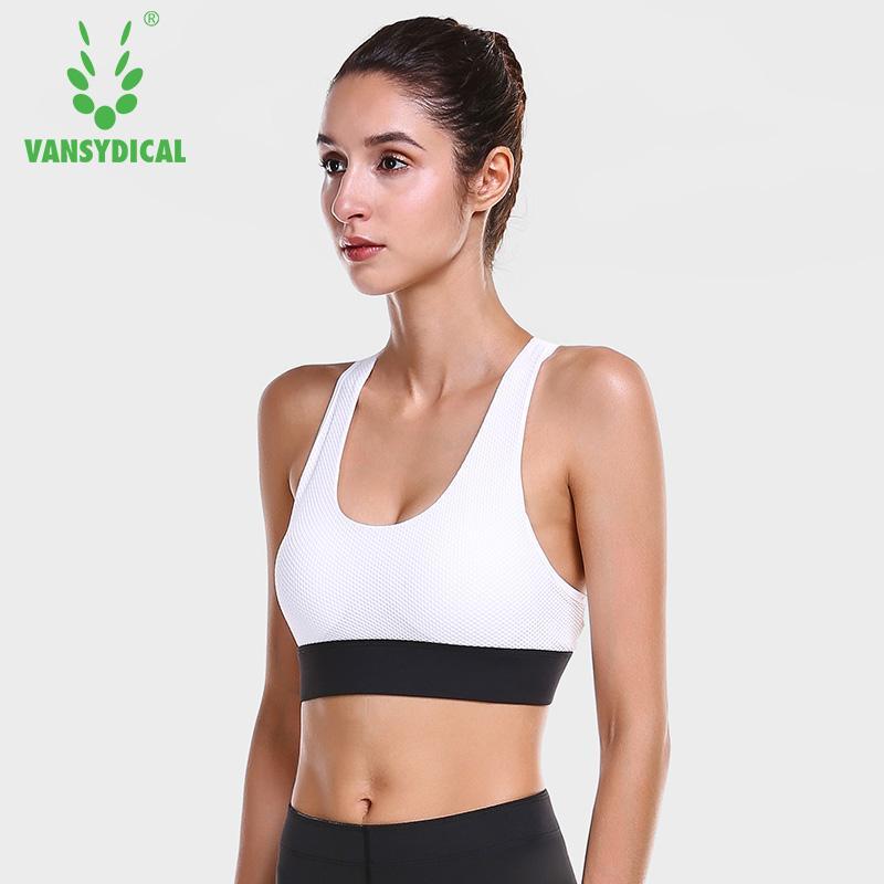 87aca39eaf72b Vansydical Sports Underwear Women s Breathable Mesh Gym Yoga Bras Running  Shockproof Push Up Fitness Workout Bra Tops