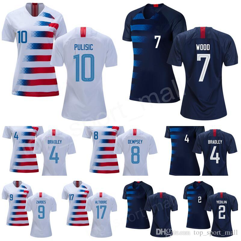 2019 Women Soccer Jerseys 1 SOLO 4 BRADLEY 7 WOOD 8 DEMPSEY 10 PULISIC  DONOVAN 13 JONES ALTIDORE Woman National Team Football Shirt Kits From  Top sport mall ... e6cd6574de
