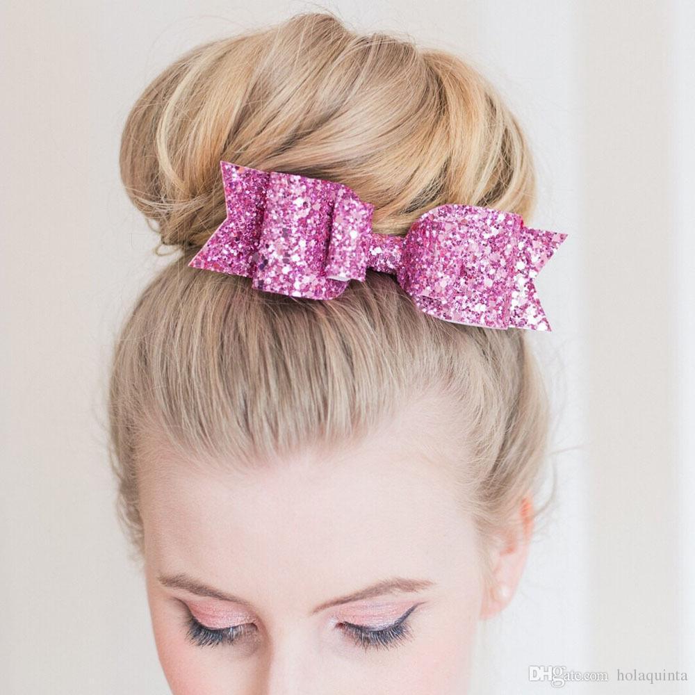 Lady Girls Shiny Sequin Big Bowknot Barrette Hairpin Hair Women Hair Clips Hair Bow Accessories Hairgrip Headwear