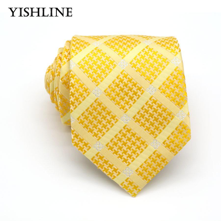 e615869d618 KT092 Hot 8CM Man Ties 100% Silk 8CM Classic Yellow Gold Stripes ...