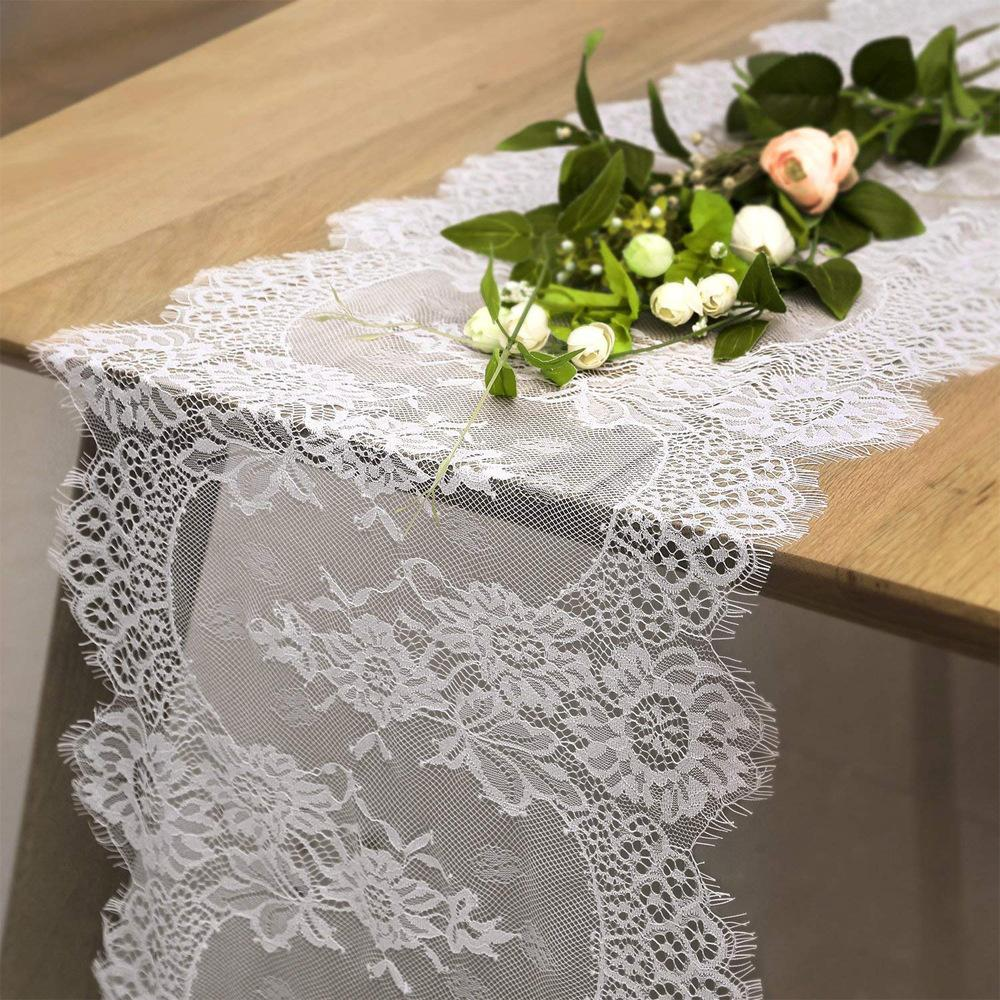 delightful Lace Table Runners Cheap Part - 3: Wholesale 36X300CM Wedding Table Runner White Lace Table Runner Floral  Cloth Boho Wedding Decoration Home Textile Ivory Table Runner Jute Table  Runner From ...