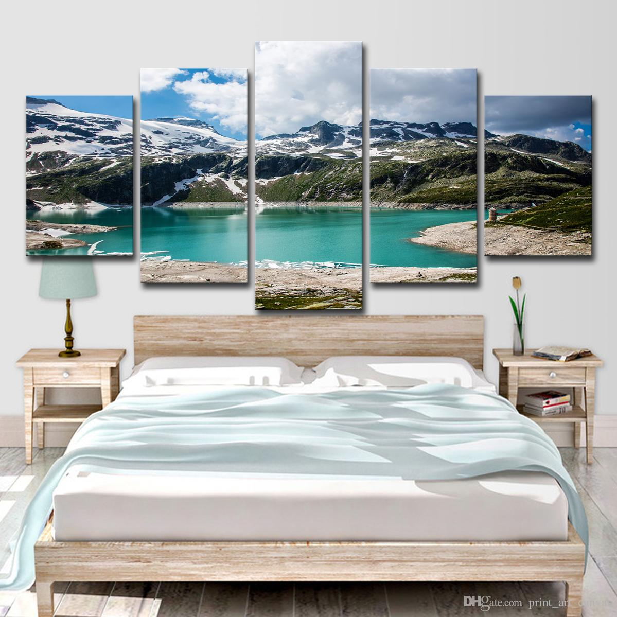 2019 Canvas Paintings Wall Art Home Decor Emerald Snowy Lake Mountains Poster For Living Room HD Prints Pictures From Print 1641