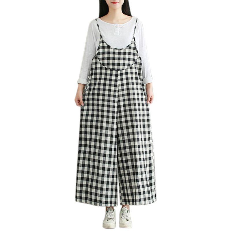 70cf941042 2019 Women Check Plaid Dungaree Jumpsuits Spaghetti Straps Jumpsuit Casual  Loose Sleeveless Vintage Wide Leg Harem Pants From Yujian18
