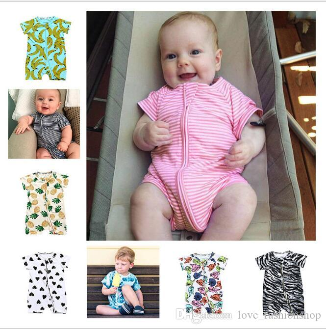 Mix 31 Colors Infant Baby Cotton Floral Dot Animal Printed Romper jumpsuits Kids Newborn Multiple patterns Summer onesies toddler bodysuit
