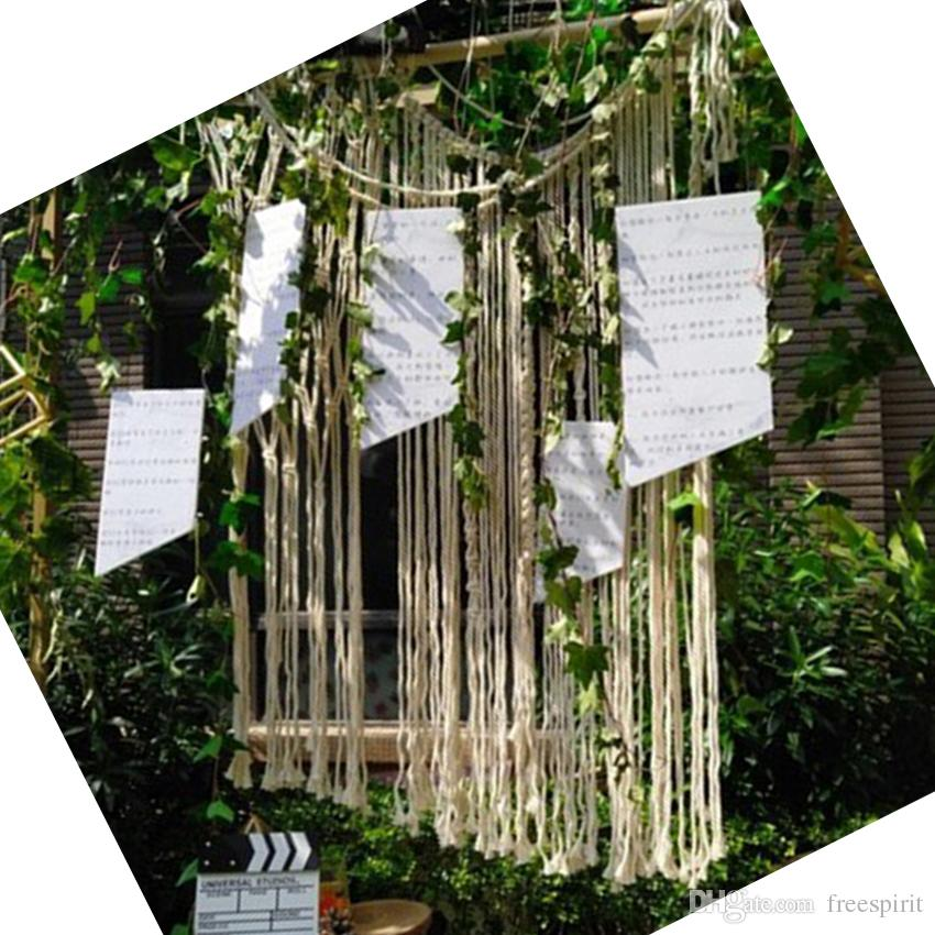 Boho Wedding Decor.Boho Wedding Decoration Backdrop Cotton Rope Macrame Wall Hanging Bohemian Tassel Curtain For Home Room Party Background Housewarming Gift