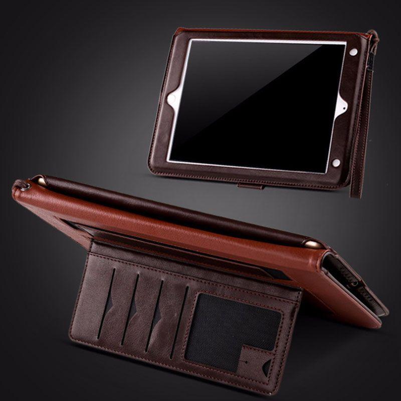 Mini Pad Pro 9.7 için ücretsiz nakliye 10.5 hava Braketi ile lüks Deri Flip case kapak Kart tutucu flip cases PCC064