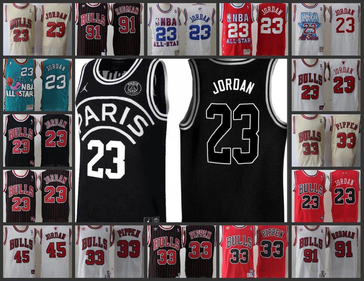 size 40 8720f b8c82 Chicago Bulls Men #23 45 Michael jerseys 33 Scottie Pippen 91 Dennis Rodman  Zach Paris joint name Stitched jersey