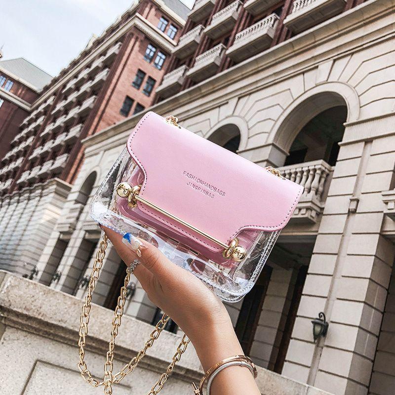 166e71518c61 2019 Fashion Fashion Women Brand Design Small Square Shoulder Bag Clear  Transparent PU Composite Messenger Bags New Female Handbags Hobo Handbags  Italian ...