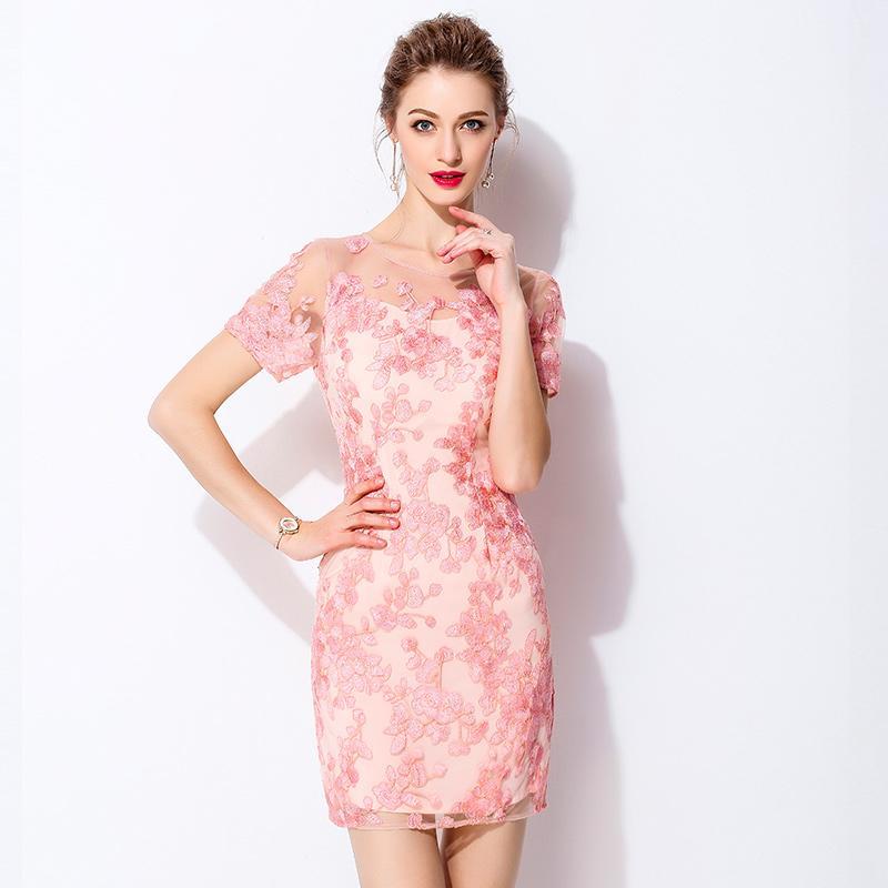 d381b95c9e7b5 Satın Al 2018 Çiçek Nakış Kadın Yaz Zarif Elbise Avrupa Ince Kısa Kollu O  Boyun Patchwork Kadın Ince Elbiseler, $80.8 | DHgate.Com'da