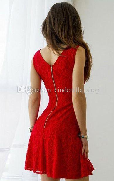 2018 New Fashion Mini Red Lace Homecoming Dresses Square Neck Celebrity Gowns Short Prom Party Cocktail Wears Cheap Custom Made