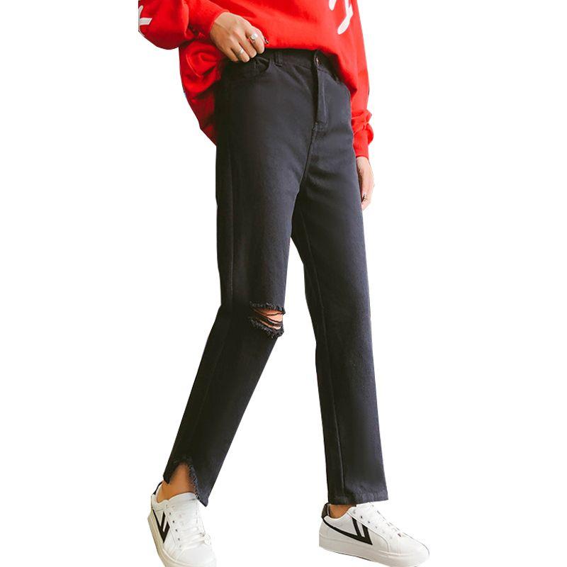 4b519ba21ed6 2019 2018 New Slim Straight Pants Vintage High Waist Jeans New Womens Pants  Hole Loose Cowboy Plus Size 5XL From Beautyjewly