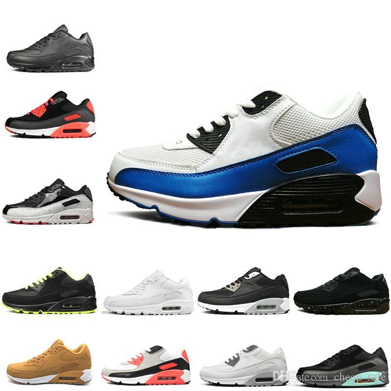 best website c6ad9 b4c92 Acheter Nike Air Max 90 Précipité 90 Casual Noir Blanc Jaune Rouge  Chaussures De Course Pour Hommes Femmes Pas Cher Classique Des Années 90  Hommes De  54.35 ...