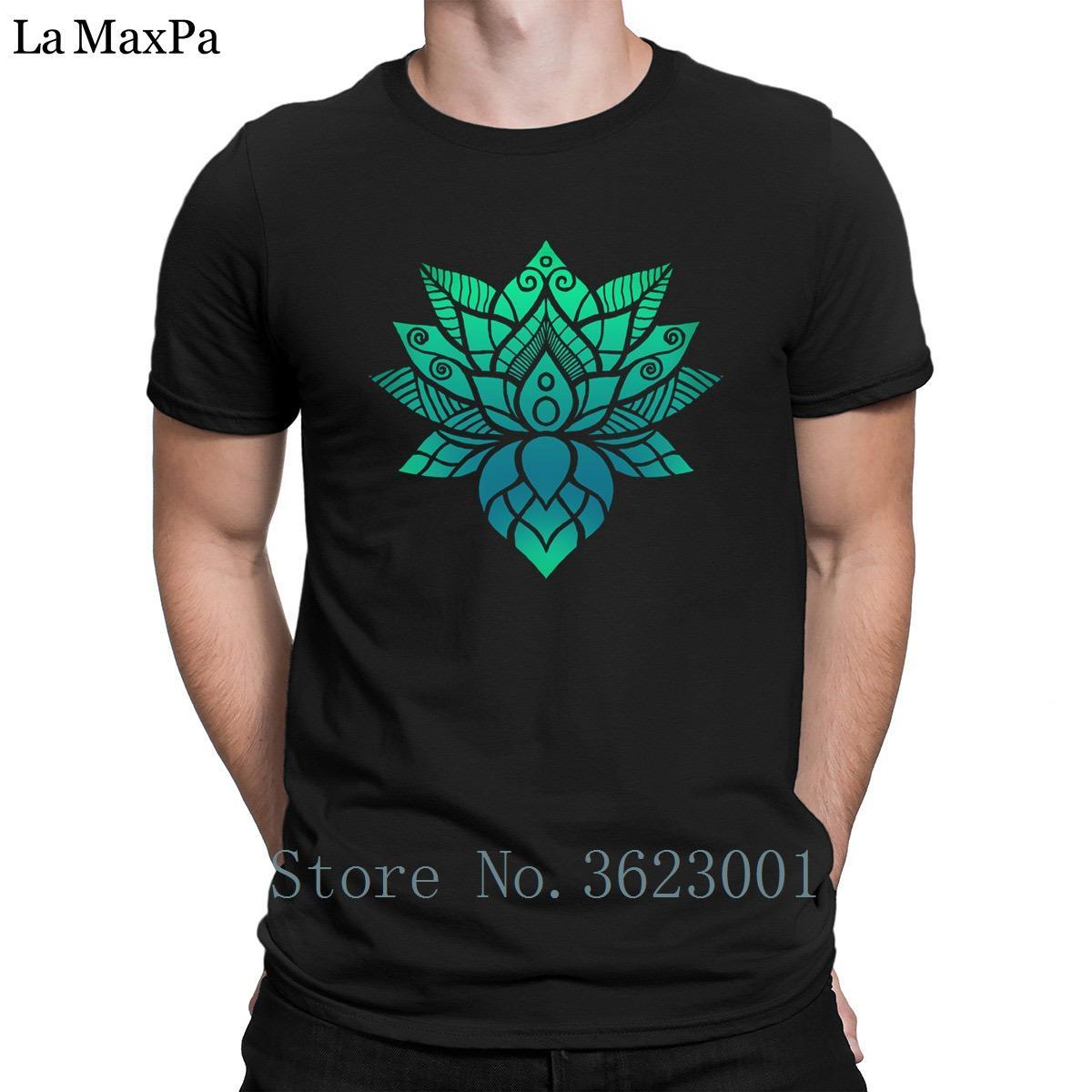 Create New Style T Shirt For Men Lotus Flower Ornament Mens Tee