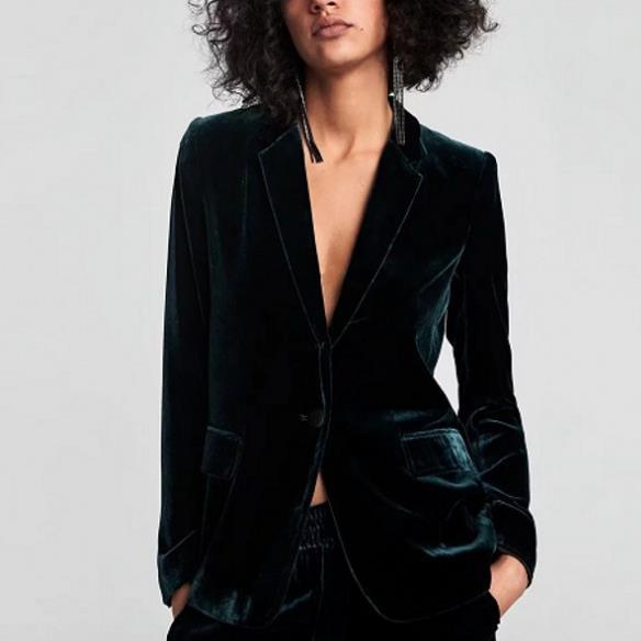 2019 2018 Velvet Dark Green Retro Pockets Blazer Suit 2018 Spring