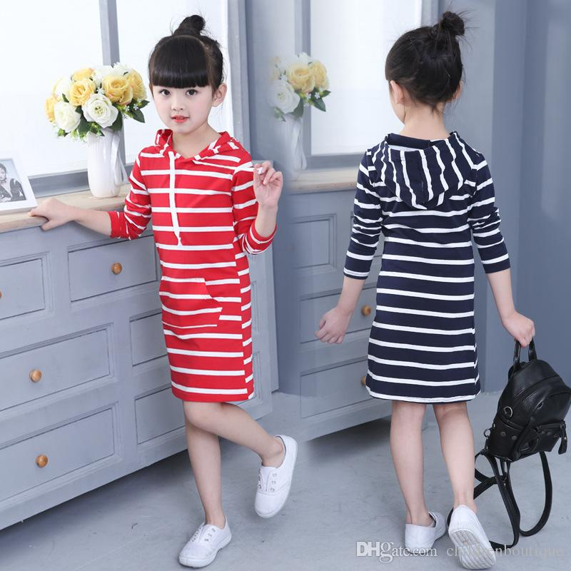 9759603ae9b5 2019 Girls Dress 2018 Newest Spring Autumn Hooded Long Sleeve Kids Dress  Toddler Children Casual Clothing Striped Tutu Baby Fashion Dresses Girls  From ...