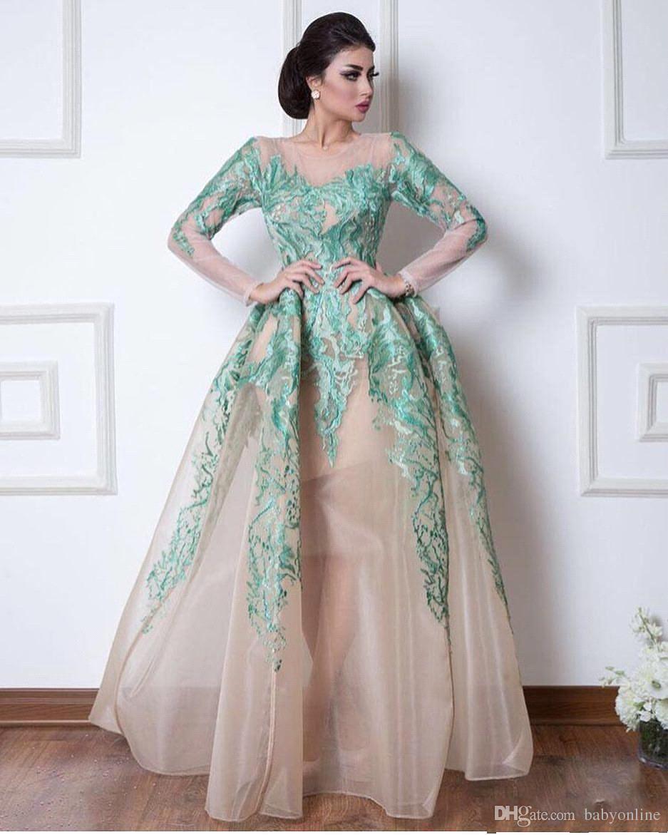 9c6220c1f8 Compre Vestidos De Noche Árabes De Dubai De La Vendimia Vestidos De Gala  Formales Mangas Largas Escarpadas Cazadoras Apliques De Color Verde Vestidos  De ...