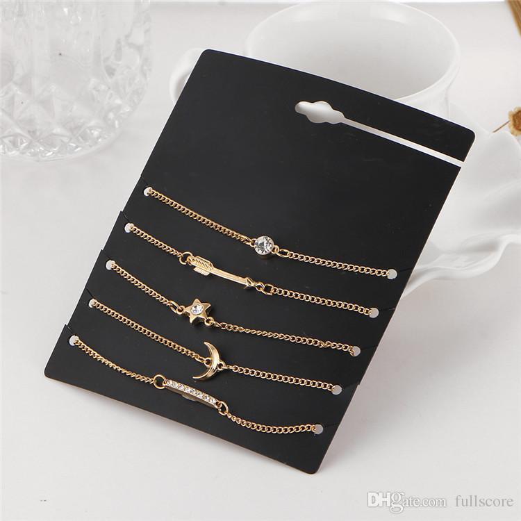 / set Mode Bohème Luxe Flèche Lune Cristal Dames Or Cheville Bracelet À Bout Bijoux À La Mode Pied Chaîne