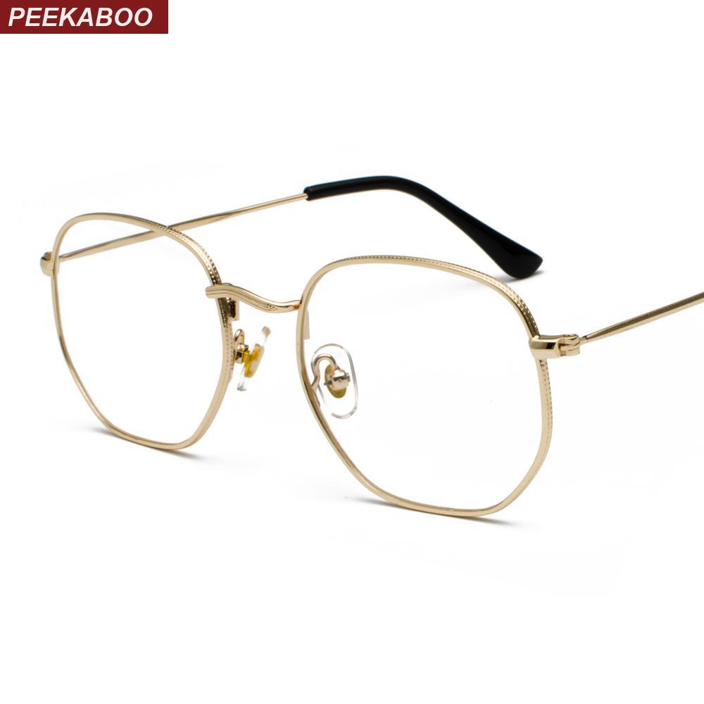 Großhandel Peekaboo Gold Metallrahmen Brillen Quadratischen Rahmen ...