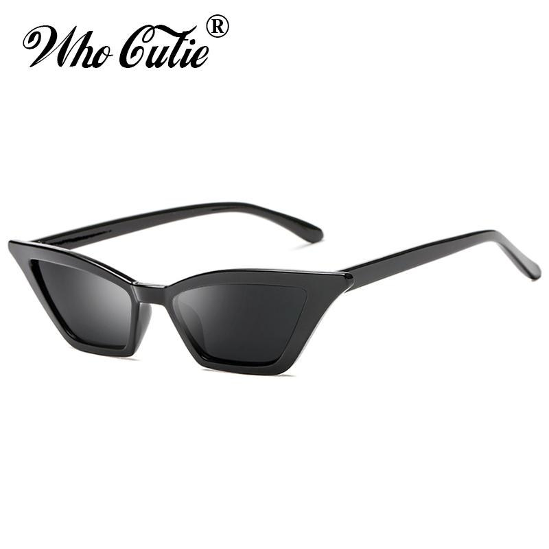 72f2b42b21f8 WHO CUTIE 2018 Small Red Cat Eye Sunglasses Women Brand Retro Vintage Narrow  Rectangular Cateye Frame 90S Sun Glasses Shades 576 Round Sunglasses Cheap  ...