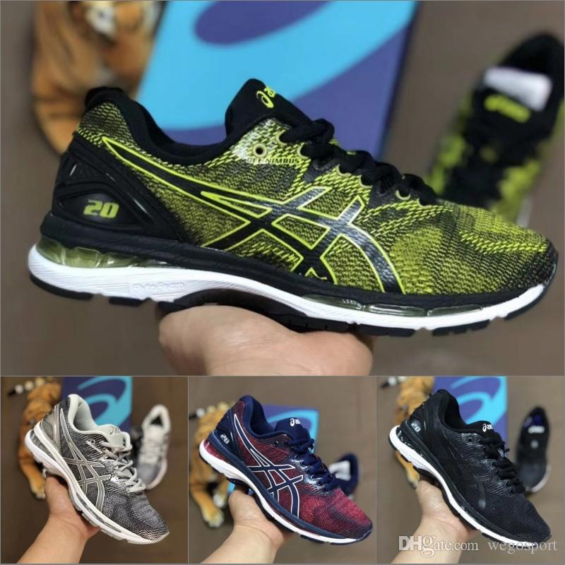 2019 Asics GEL-Nimbus 20 Cushioning Mens Running Shoes Balck Grey Green Best Quality Designer Sneakers Sport Shoes Size 40-45