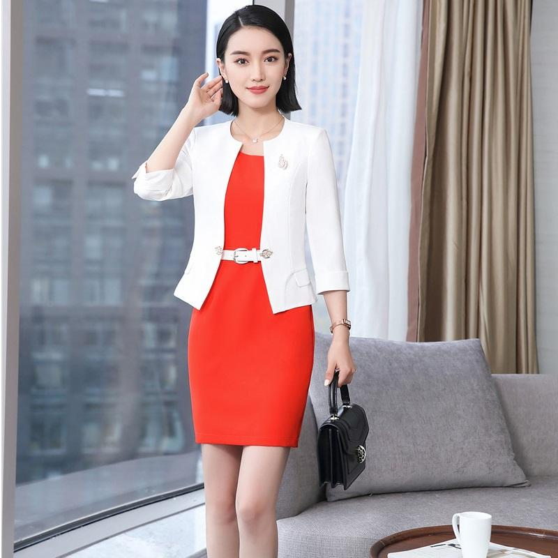 d39e637f6 2019 2018 New Styles EleWhite Spring Summer Professional Business Women  Blazer Suits With Jackets And Dress For Ladies Outfits From Philipppe, ...