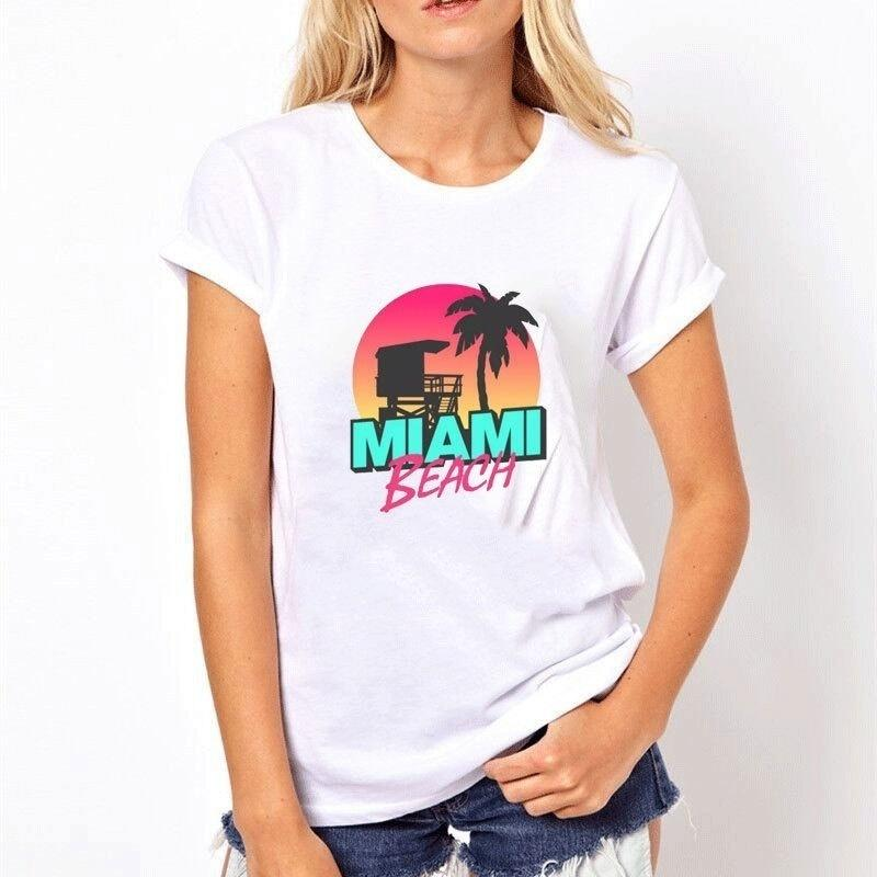 6a0be342e040 Miami Beach Ladies Pattern Cotton 3d Printing GAMING INTERESTING POPULAR  CLOTHING Funny Women Summer T Shirt Female Printed It Custom High Q Online  Shopping ...