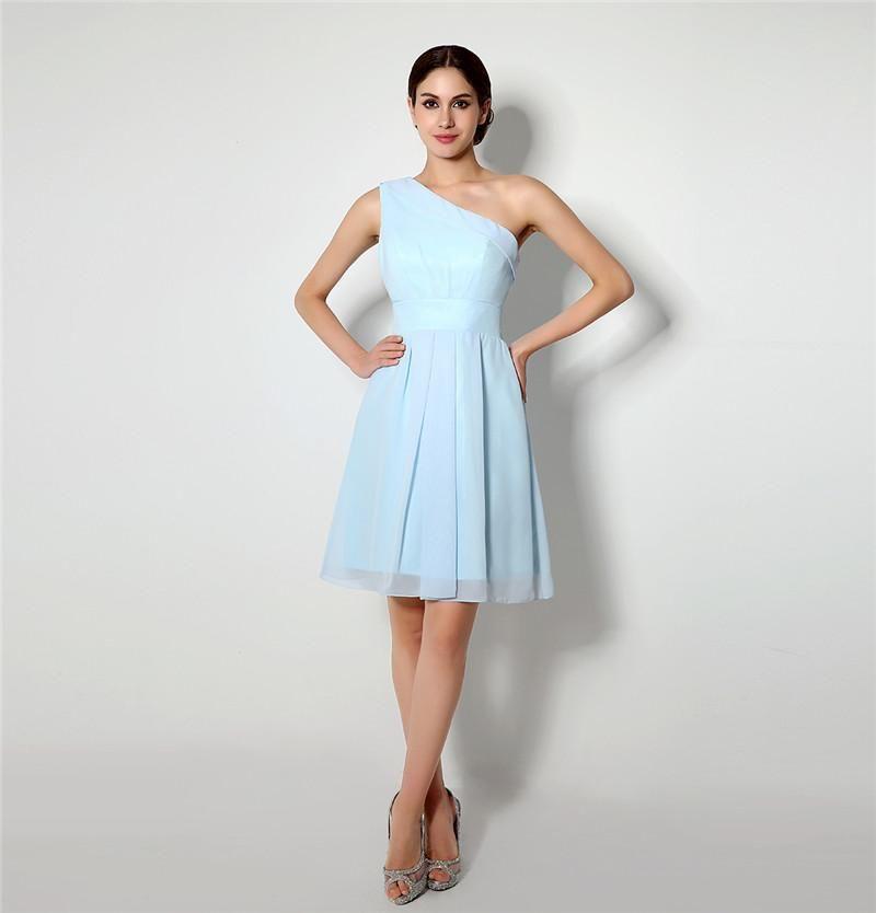 Großhandel Einfache A Line Short Brautjungfern Kleid One Shoulder ...