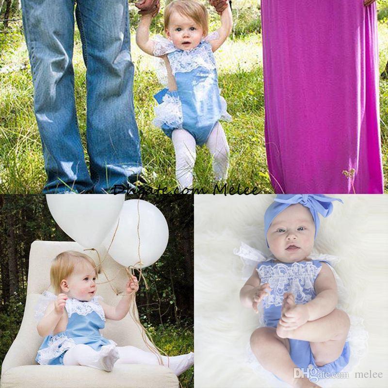 Ins Baby Full Lace Romper Baby Girl Kids Toddler Sommar Rompers Blöja Skål Jumpsuits Lace Ruffle Söt Bomull Bodysuiter Blå Rosa Grå