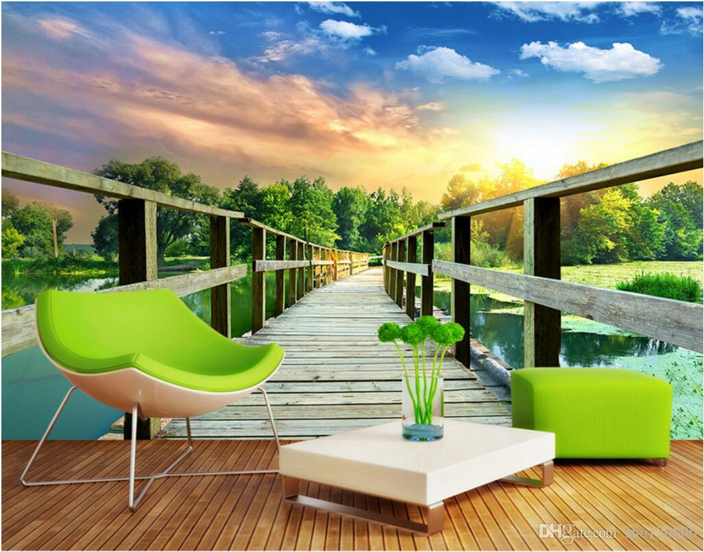 3d wallpaper custom photo mural Wooden bridge corridor tv background wall Home decoration 3d wall murals wallpaper for walls 3 d living room