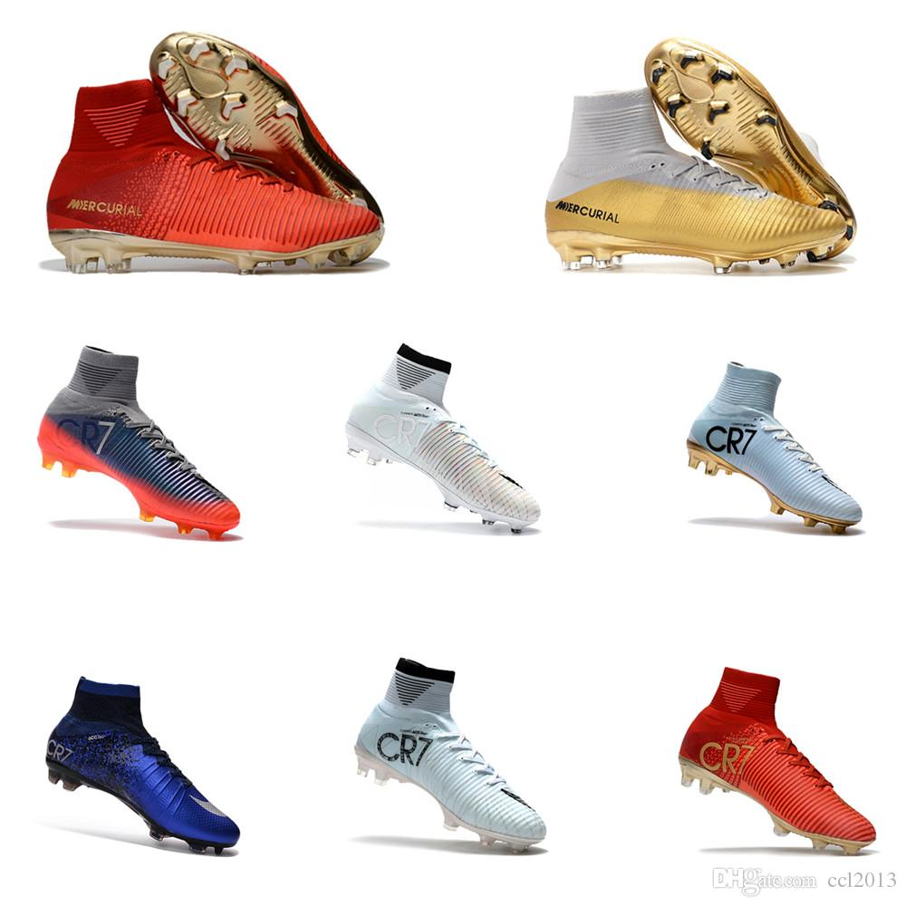 explore fashion Style cheap online 2018 Newest Mens Mercurial Superfly Fashion Ronaldo Exclusive Red Gold CR7 FG Football Boots Training Sneakers Cleats xFj0kenf