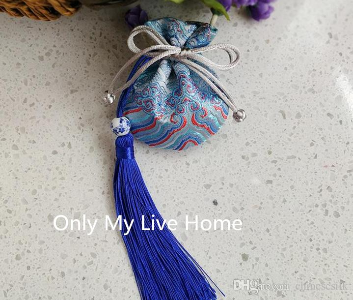 Chinese Tassel Small Silk Satin Pouch Drawstring Bag Jewelry Packaging High Quality Mini Gift Bags Sachet size 8x9cm