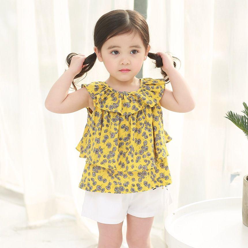 1eee81e00 New Girls Floral Printed Blouses Summer Children Falbala Collar ...