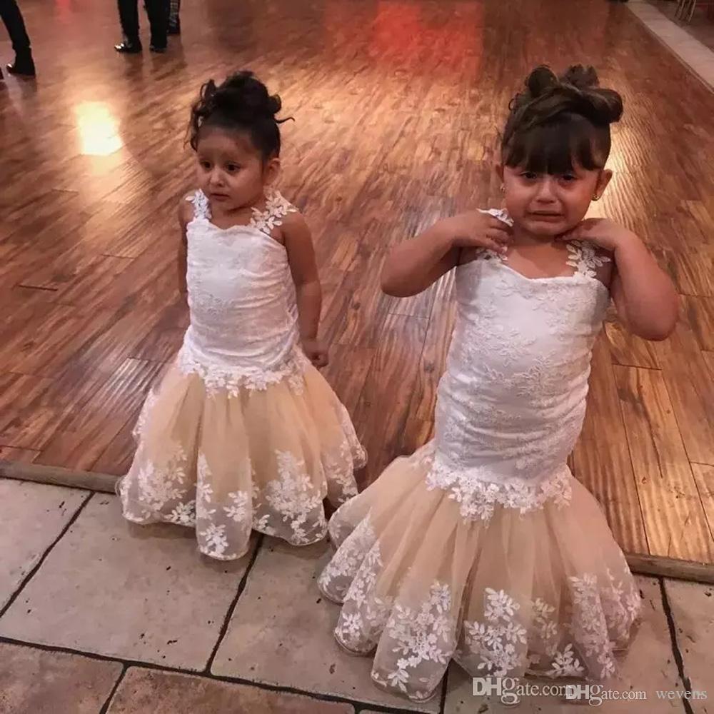 Rosa Da Sereia Vestidos Da Menina de Flor para Casamentos Partido Lace Branco Apliques de Espaguete Strap Kid's Evening Prom Vestido Trompete Criança Pageant Vestido