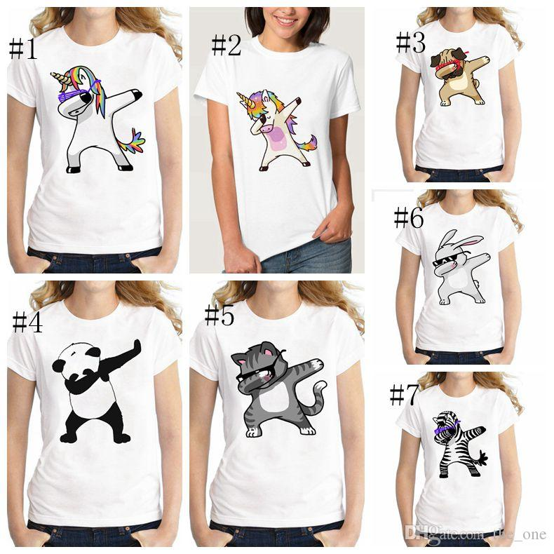 Summer Unicorn Cartoon Funny T Shirts Kids Summer Tops Girls Boys Short Sleeve T shirt Rabbit Cat Baby Clothes