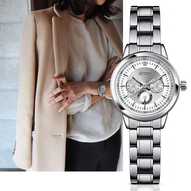 10f26258ccf Compre SINOBI Mulheres Relógio De Marca Elegante Famoso Luxo Prata Relógios  De Quartzo Senhoras De Aço Genebra Antigo Relógios De Pulso Relogio 2018 ...