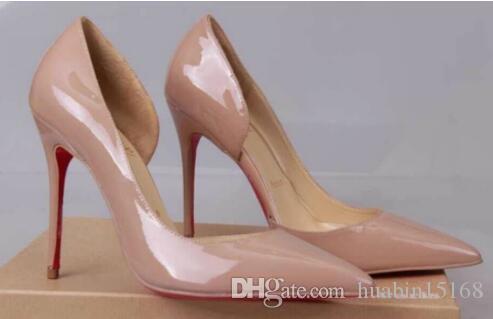Echtes Foto Frauen Nude Lackleder Punkt Zeh dünn Red Bottom High Heels Schuhe Pumps Party Kleid Schuhe kommen mit Schuhen Box und Staubbeutel