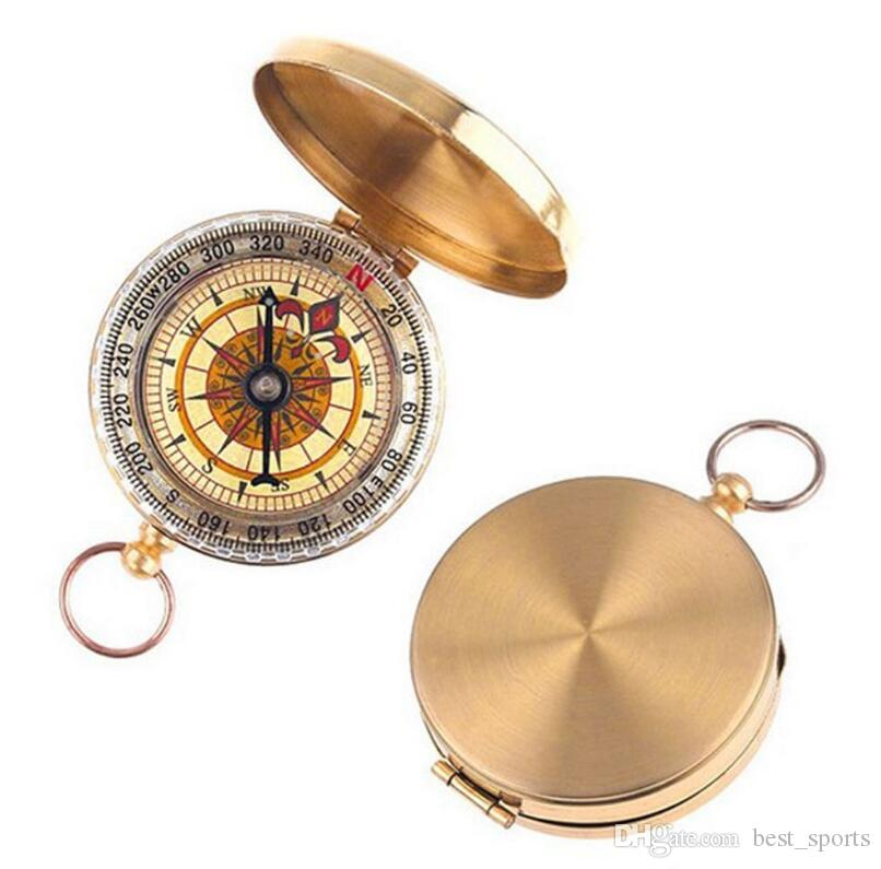 Portable Brass Pocket COMPASS Sports Camping Hiking Portable Brass Pocket Fluorescence Compass Navigation Camping Tools HHA58