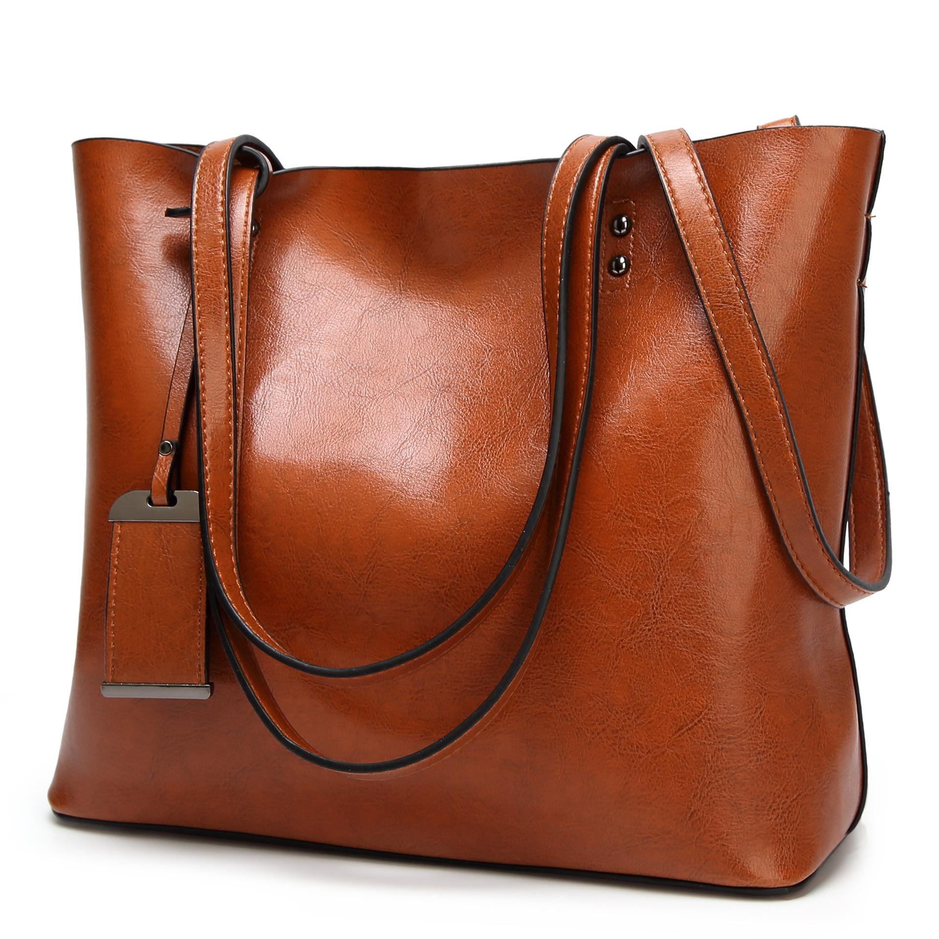 24d954c645e Casual Retro Oil Wax Leather Tote Bags Women Pu Leather Handbags High  Capacity Message Bags Female High Capacity Shoulder Handbag Brands Cheap  Bags From ...