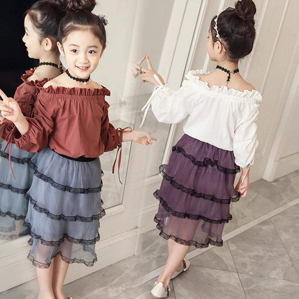 9affd62a913a 2019 HE Hello Enjoy Children Clothing Sets Summer 2018 Kids Girls Clothes  Long Sleeve Off Shoulder Tops+Skirt Suits 3 11 Years From Fragranter