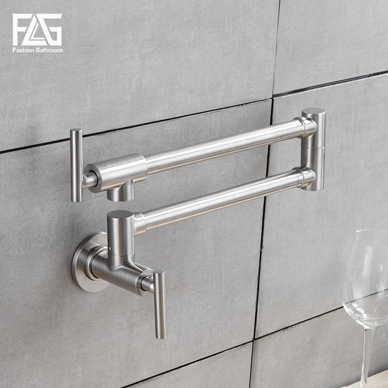 FLG Flexible Kitchen Faucet Wall Mounted Single Handle 304 Stainless ...