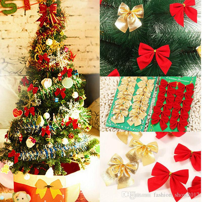 12 Pcs Set Christmas Bowknot Decoration Gold Silver Red Christmas Tree Ornament Hanging Bow Festival Party Decor Supplies