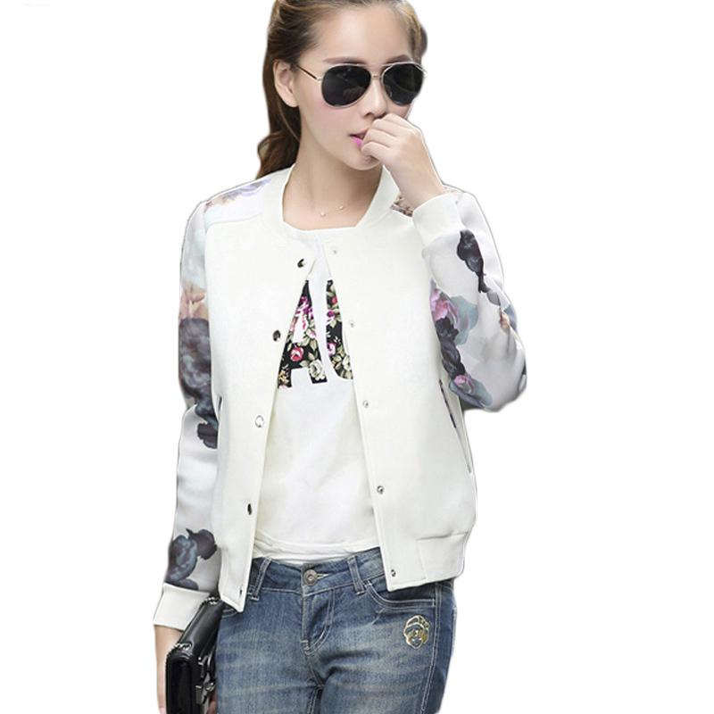 a384f31248ae56 2019 Women Jacket Brand Tops Flower Print Girl Plus Size Casual Baseball  Sweatshirt Button Thin Bomber Long Sleeves Coat Jackets Online with   33.3 Piece on ...