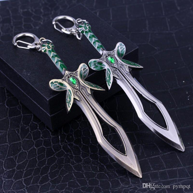 bronze man Dota 2 saber butterfly sword keychain Dota2 dagger fan butterfly Knife keychain creese stiletto Balisong key chain ring y057