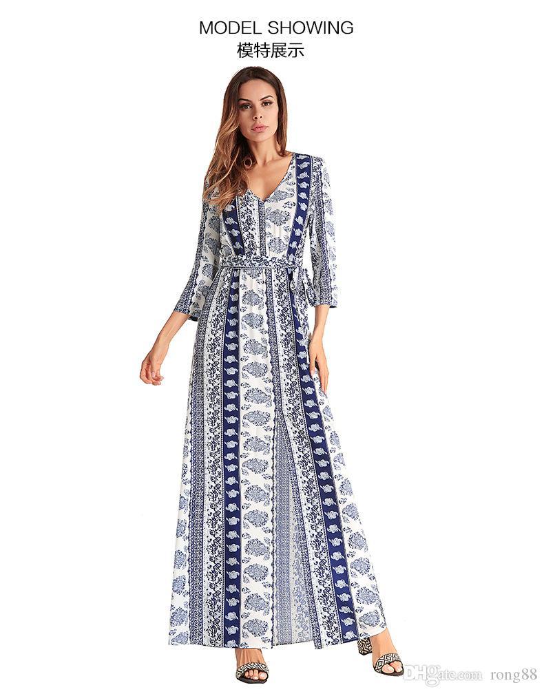 08d7ba87 Mujeres Bohemia con cuello en v manga de tres cuartos estampado floral  étnico otoño playa boho vestido largo retro hippie vestidos boho vestido
