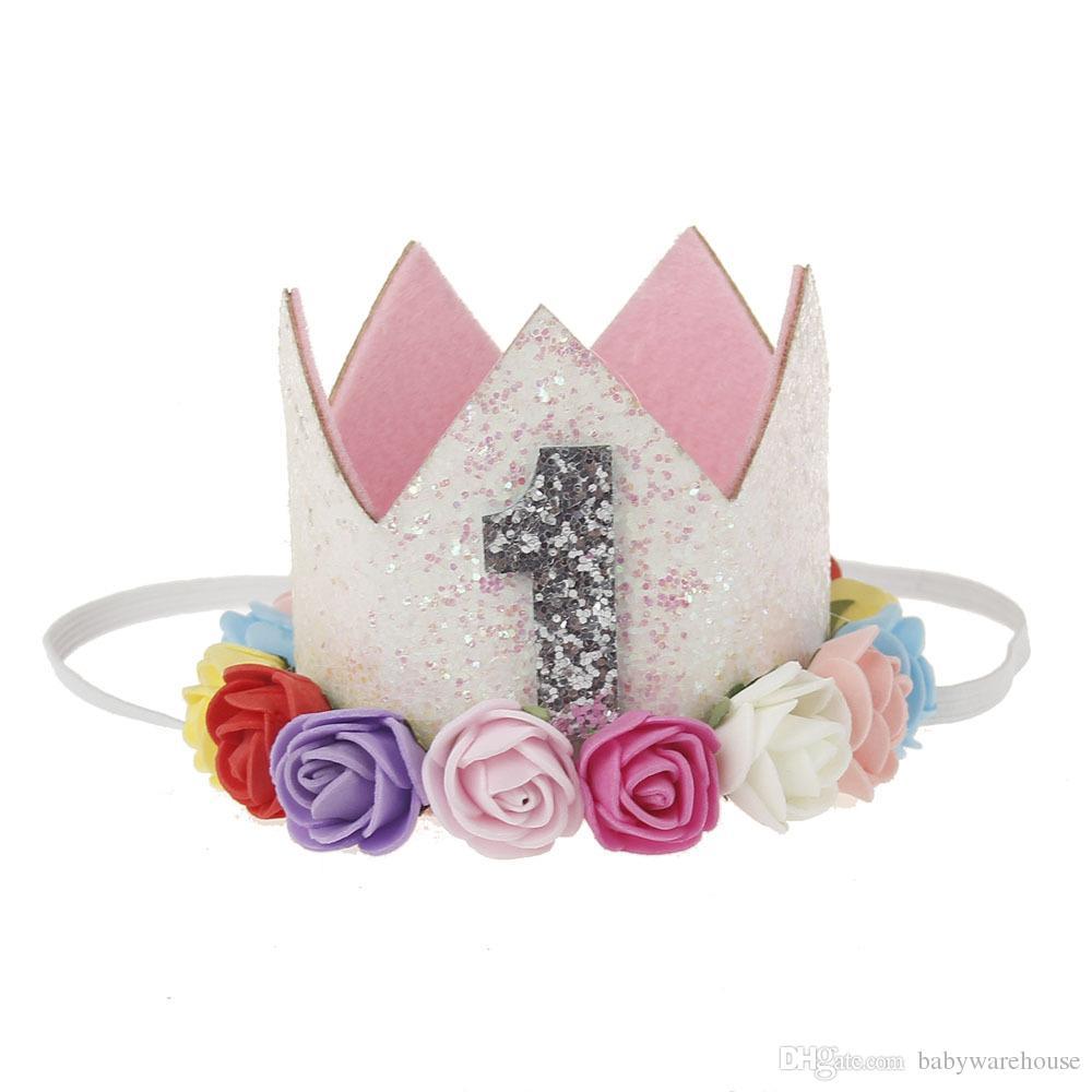 Banda de pelo del bebé Mini sombrero del cumpleaños Hairband fiesta de la princesa de la corona de la reina Cinta elástica Fibra Óptica sombrero infantil de los niños de Headwrap Accesorios para el cabello