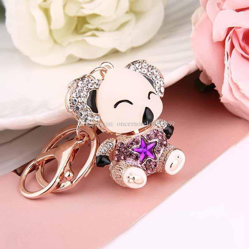 2017 moda Kristal yağ damla Anahtar yüzükler anahtarlık kadınlar takı Güzel Araba Için Sevimli ayıcık anahtarlık