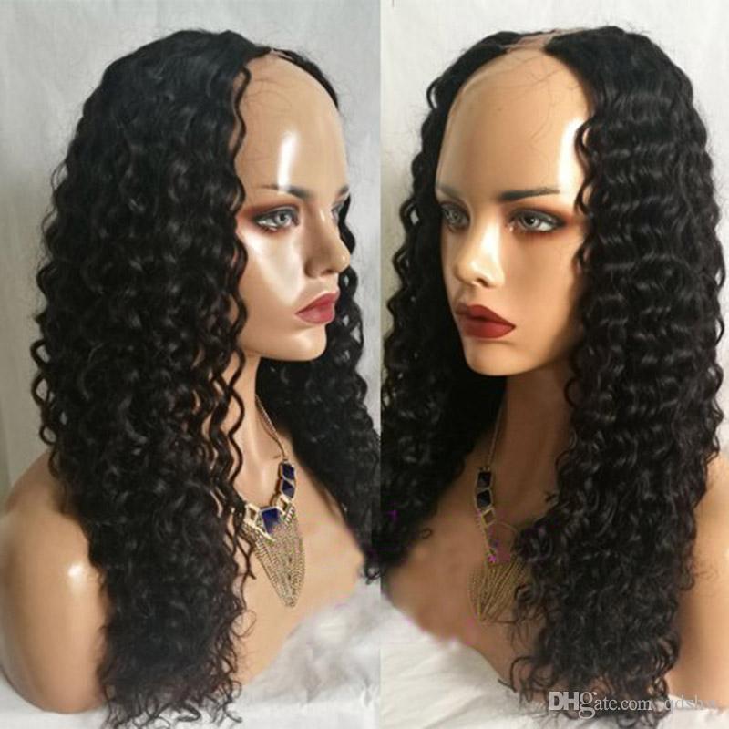 Human Hair U Part Wigs Deep Wave Hairstyles Glueless Peruvian Hair Upart Wig For Black Women Deep Wave U-part Wigs Virgin Hair