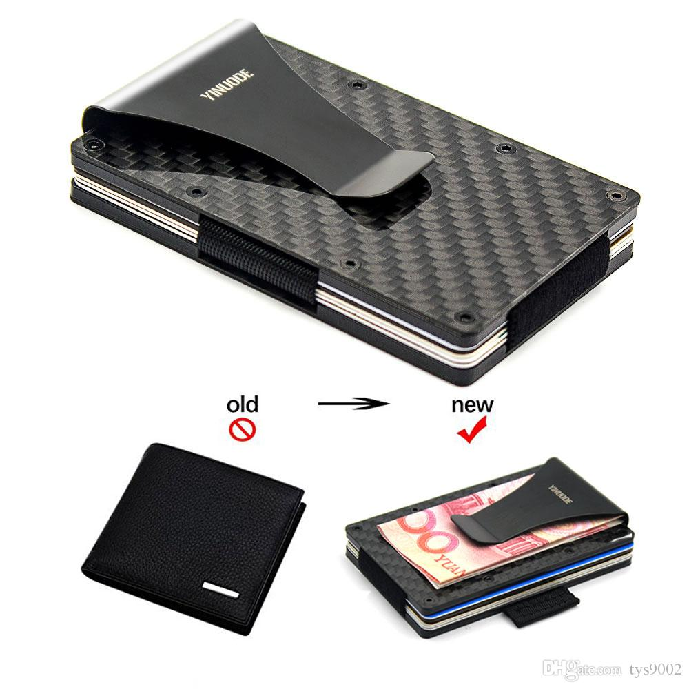 Titular do Cartão De Crédito De Fibra De carbono, 2018 Novo Puxando Tiras Versão RFID Bloqueio Anti Scan Metal Carteira Dinheiro Clipe de Dinheiro
