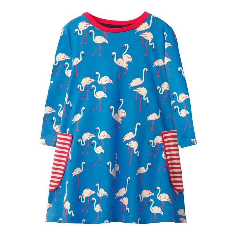 2693bb41d00e 2019 Jumping Meters Girls Dresses Blue Flamingo Printed 2018 Autumn ...