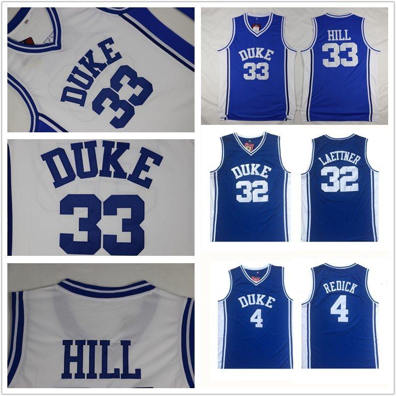 b12a895d5944 Großhandel Duke Blue Devils Trikot 4 JJ Redick 32 Christian Laettner 33  Grant Hill Blau Weiß Alle Genähten Trikots Der NCAA Von Top jersey shop